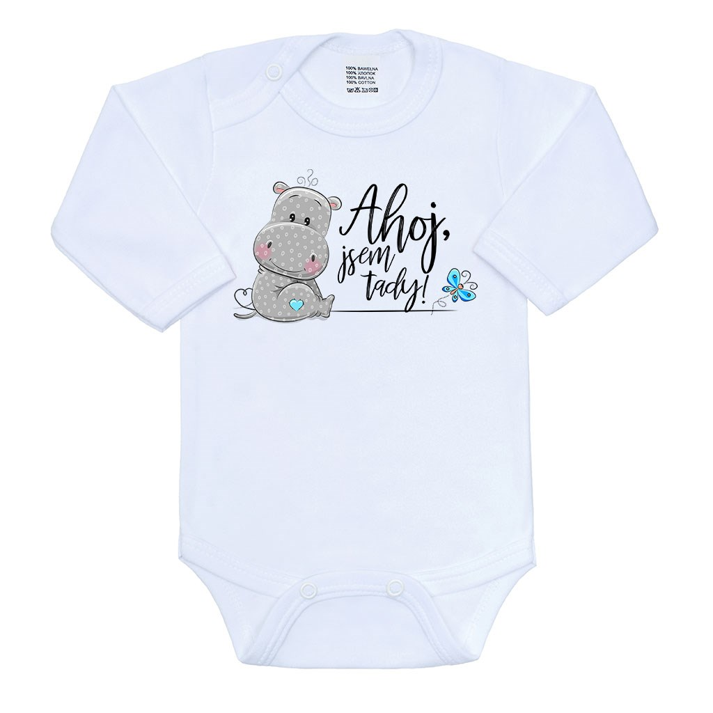 Body s potiskem New Baby Ahoj, jsem tady!, Velikost: 62 (3-6m)