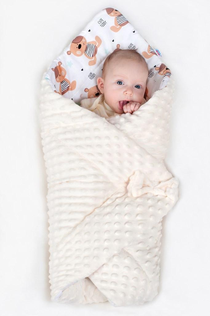 Oboustranná Zavinovačka z Minky New Baby 75x75 cm teddy béžová
