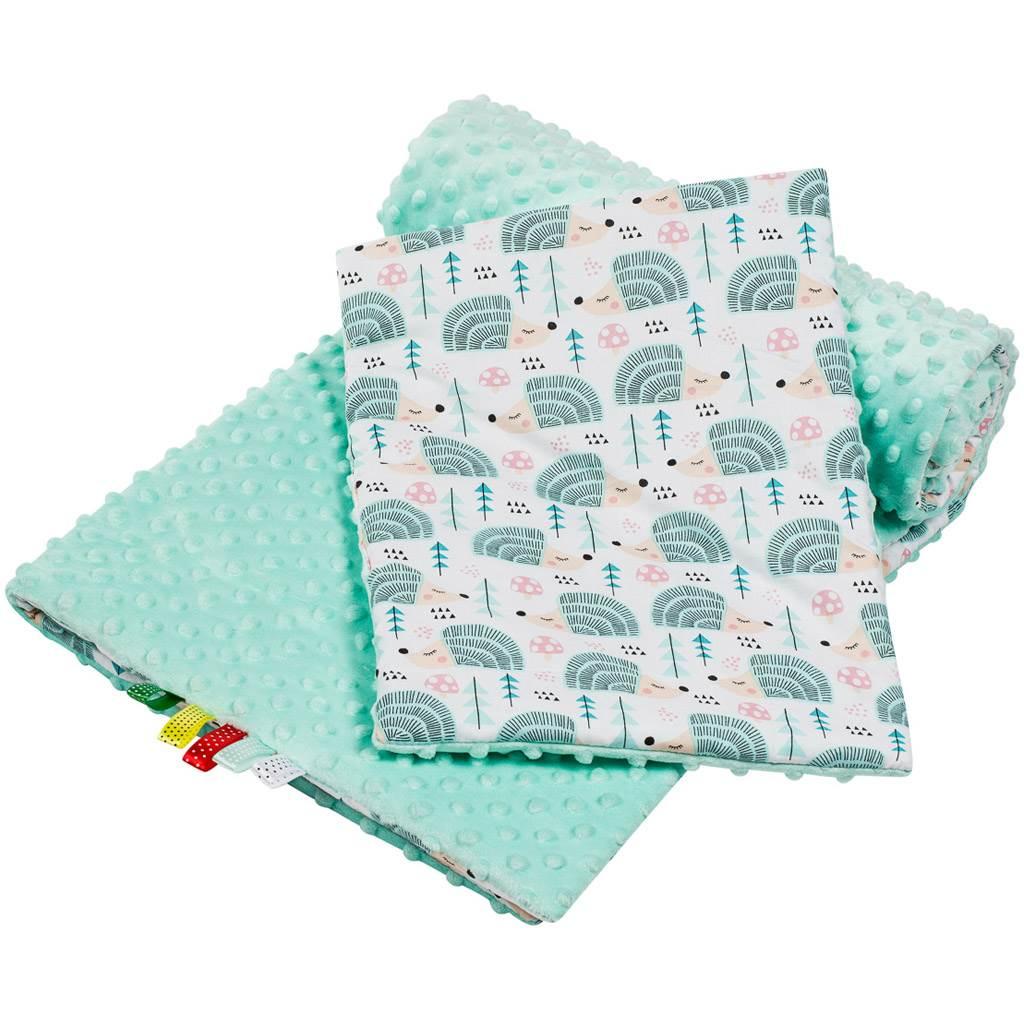 Oboustranný Set z Minky do kočárku New Baby ježek mátový