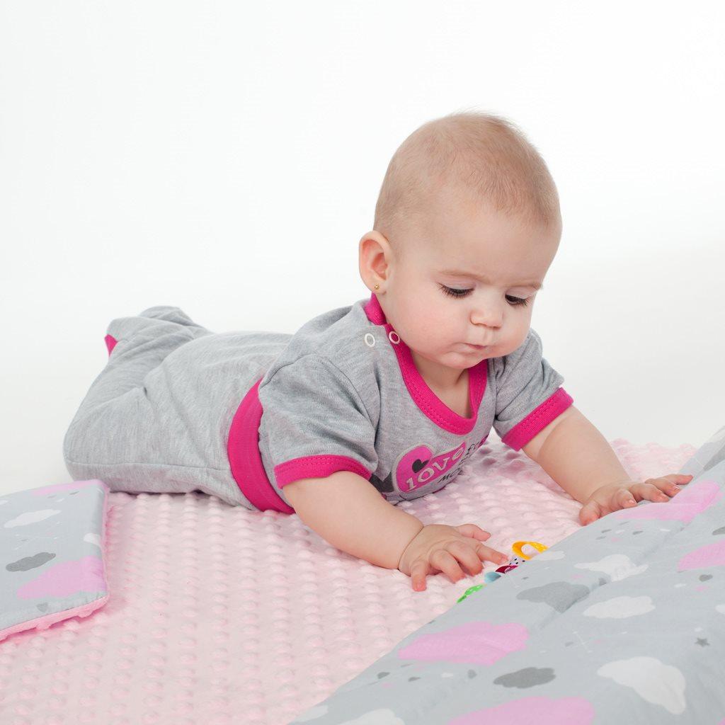 Oboustranný Set z Minky do kočárku New Baby teddy šedý
