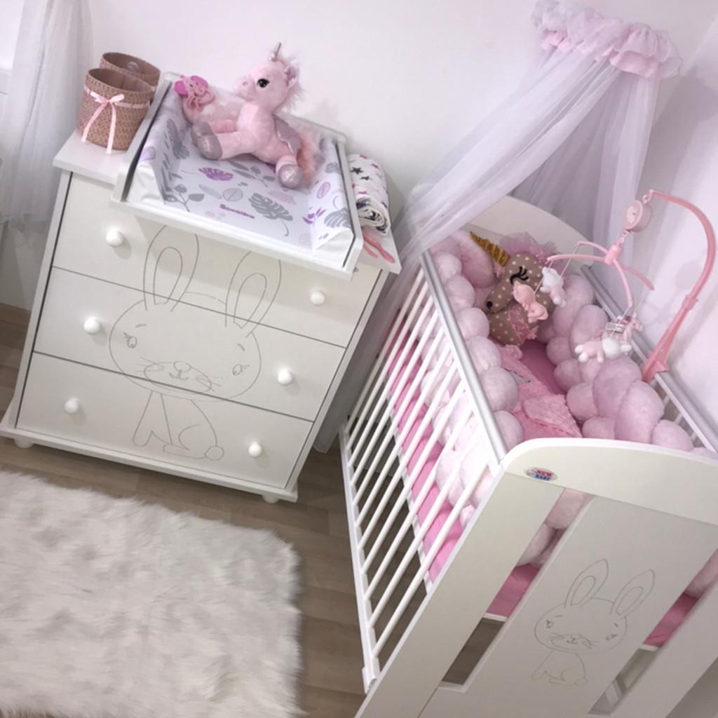 Dětská komoda New Baby Králíček bílá