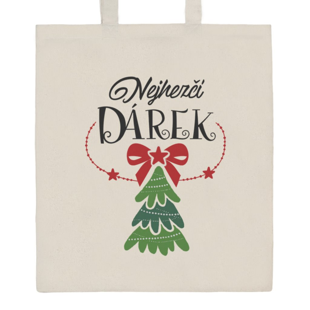 Bavlněná nákupní taška přírodní s potiskem New Baby Nejhezčí DÁREK