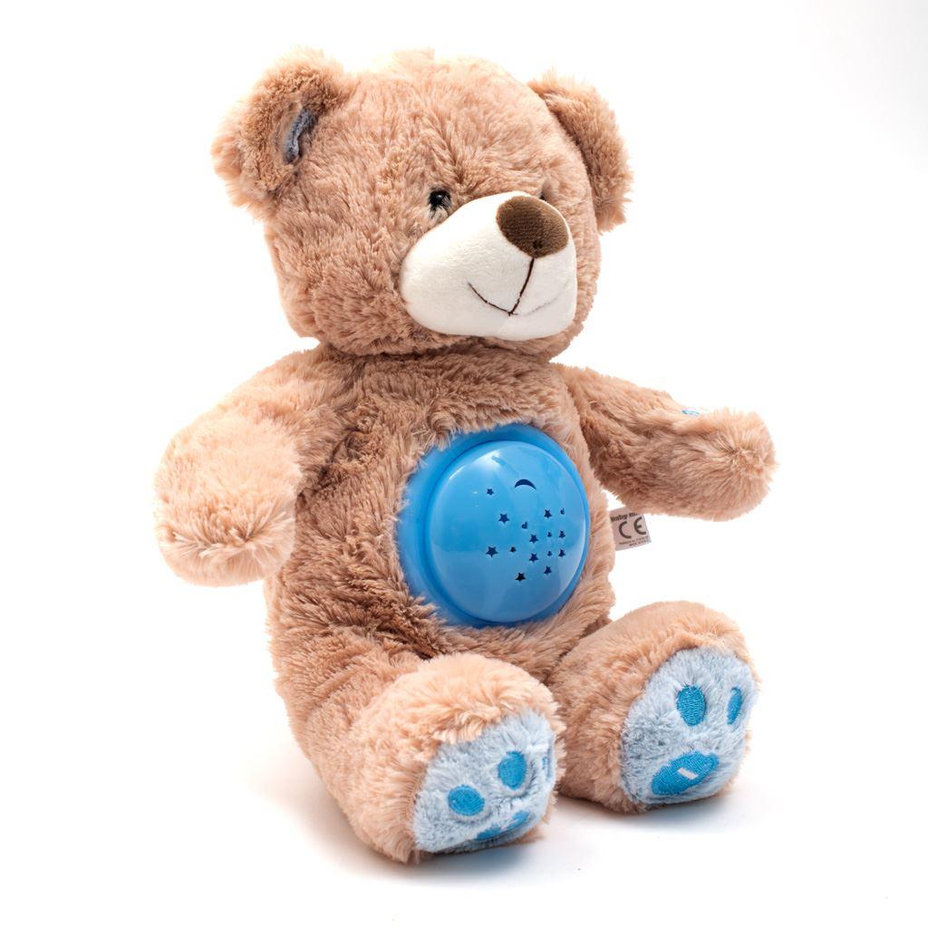 Plyšový usínáček medvídek s projektorem Baby Mix modrý