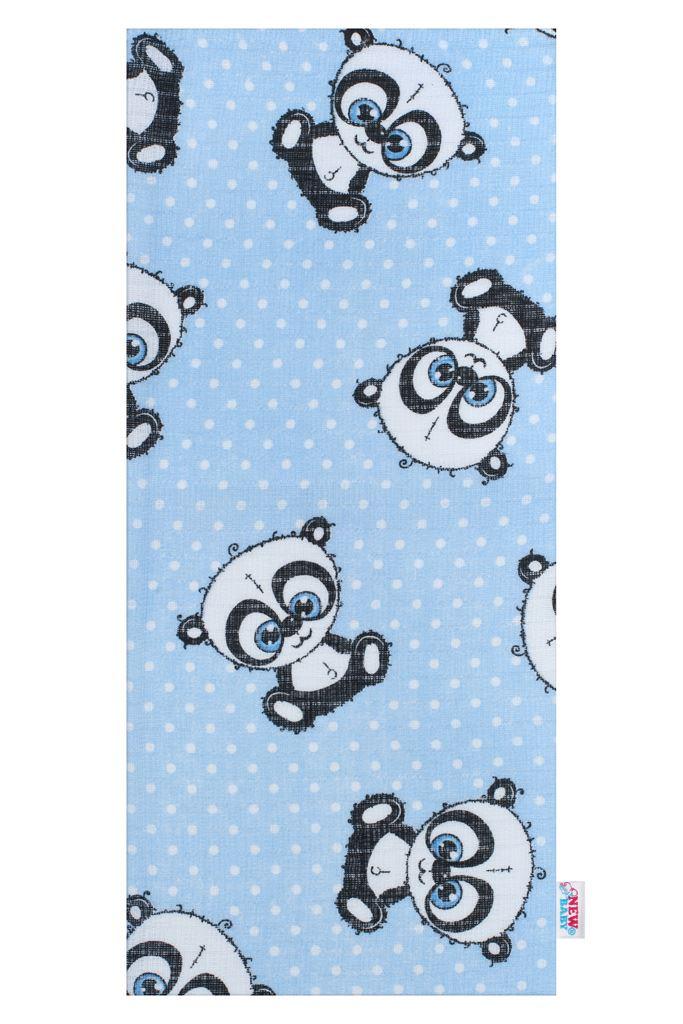 Bavlněná plena s potiskem  New Baby modrá panda s bílou tečkou
