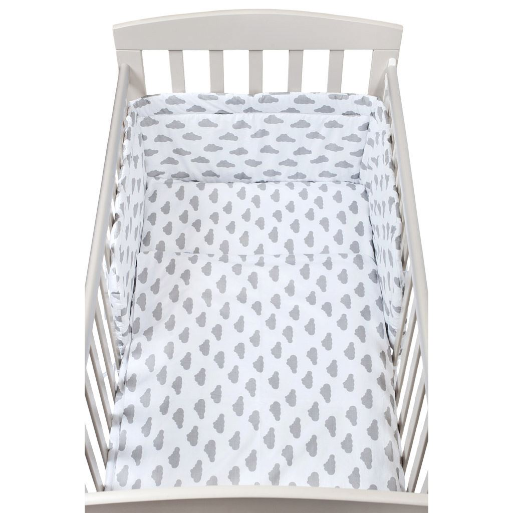3-dílné ložní povlečení New Baby 90/120 cm obláčky šedé