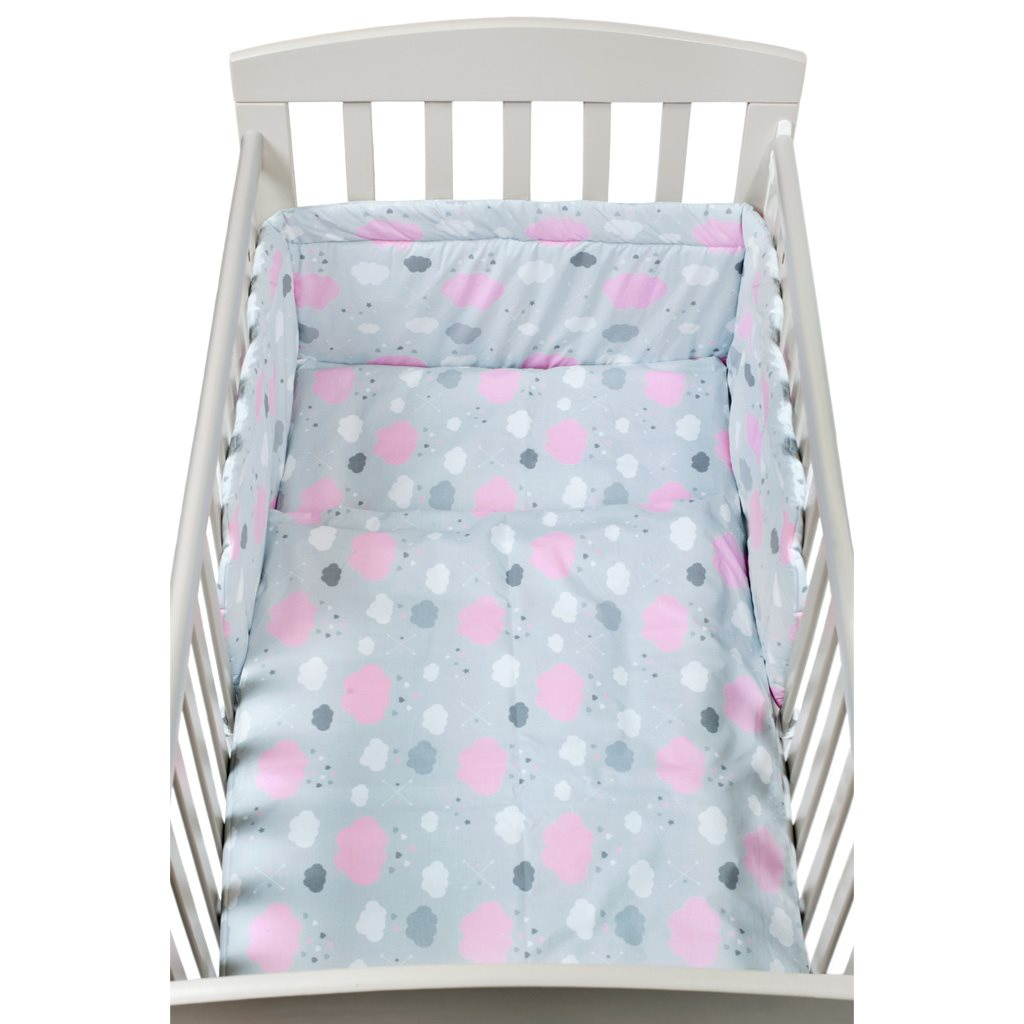 3-dílné ložní povlečení New Baby 90/120 cm obláčky růžové