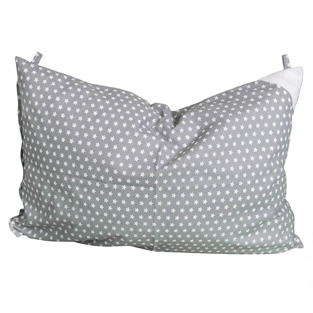 Povlak na polštář šedý s hvězdičkami - 60x40cm