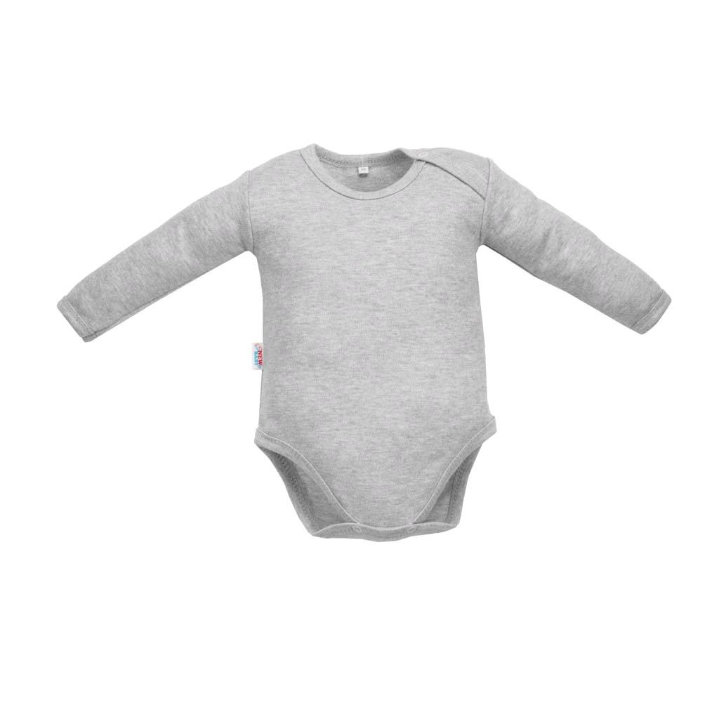 Kojenecké body s dlouhým rukávem New Baby Pastel šedý melír