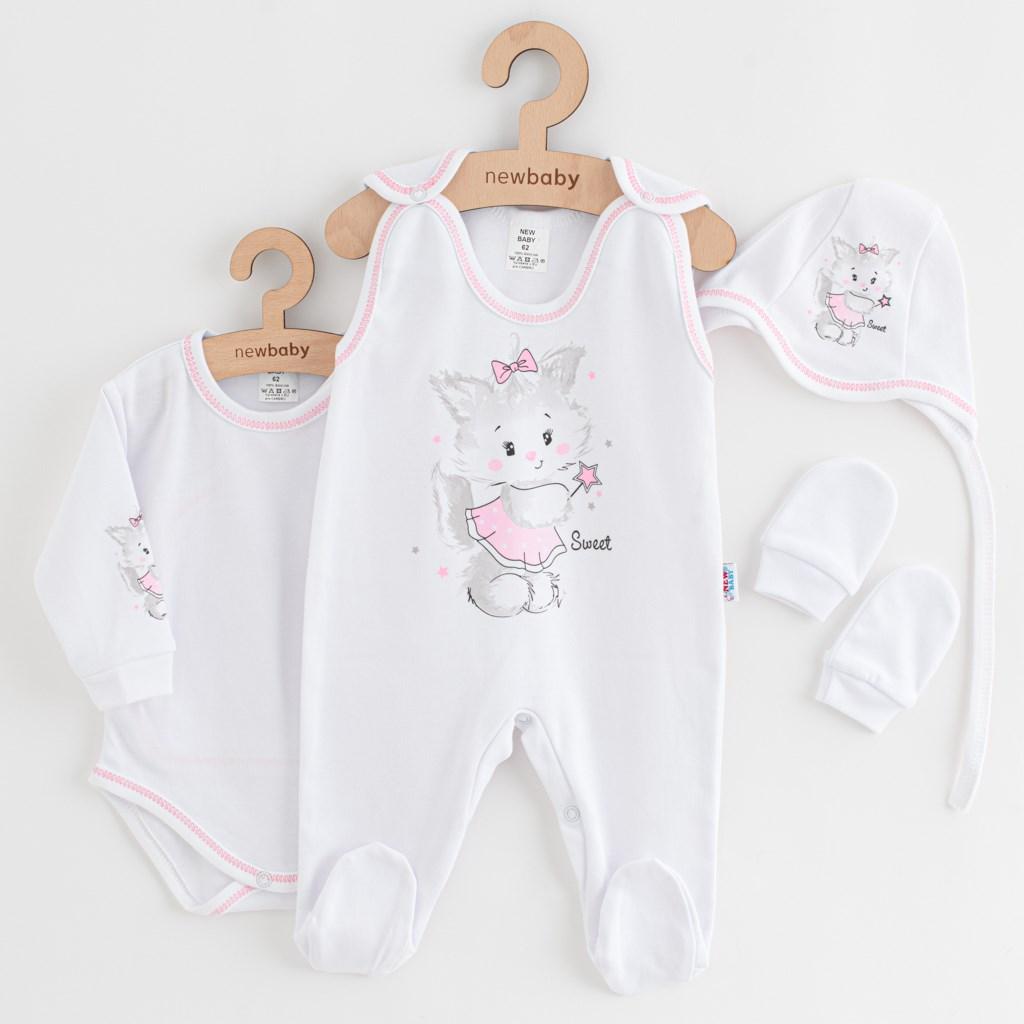 Soupravička 4-dílná New Baby Kočička bílo-růžová vel. 62 (3-6m)