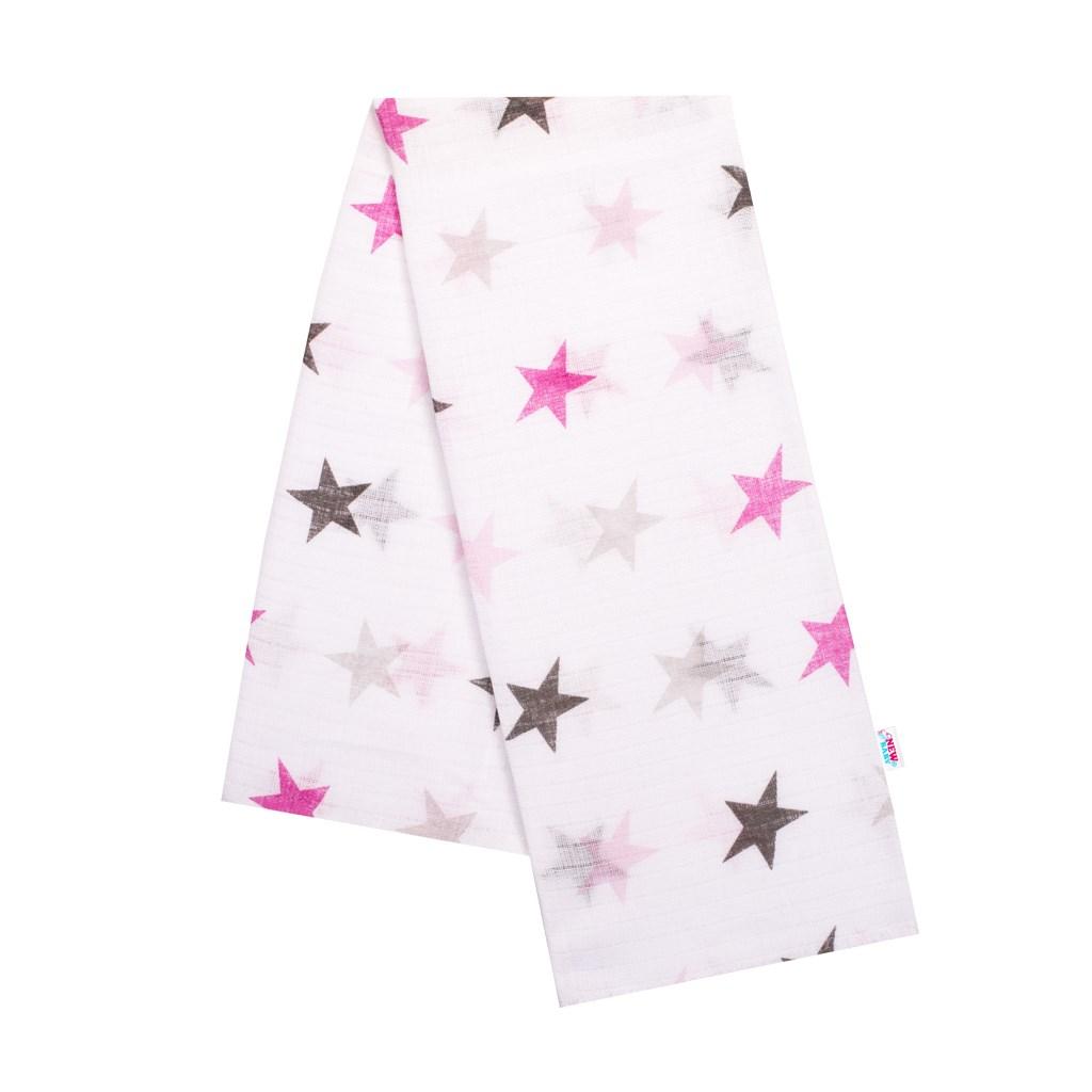 Bavlněná plena s potiskem New Baby bílá s růžovými hvězdami