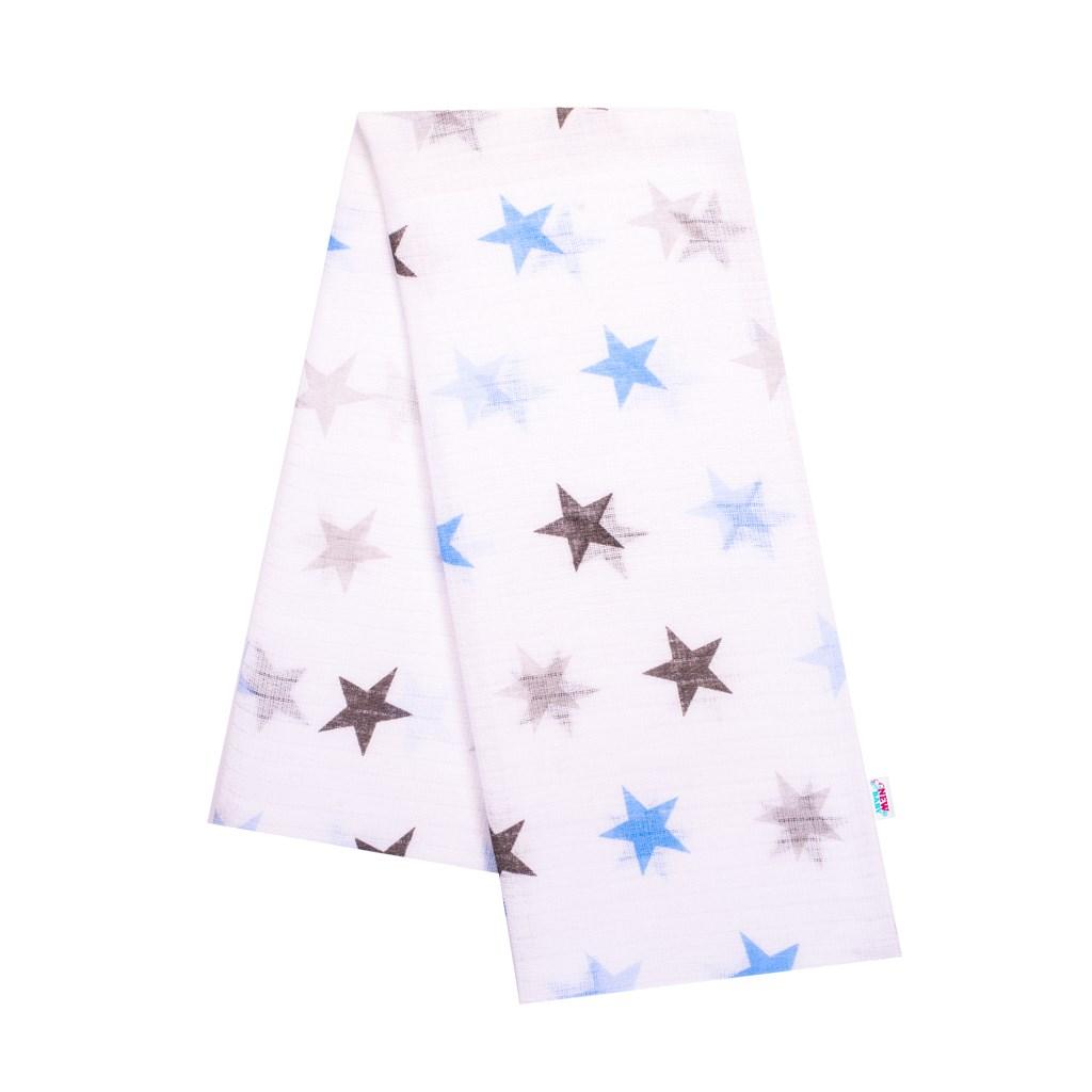 Bavlněná plena s potiskem New Baby bílá s modrými hvězdami