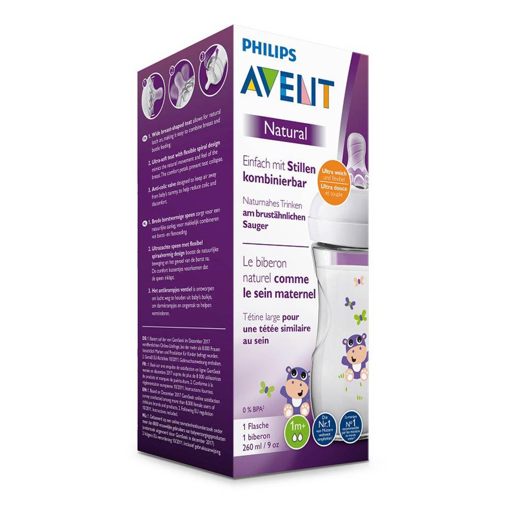 Kojenecká láhev Avent Natural 260 ml bílá hroch