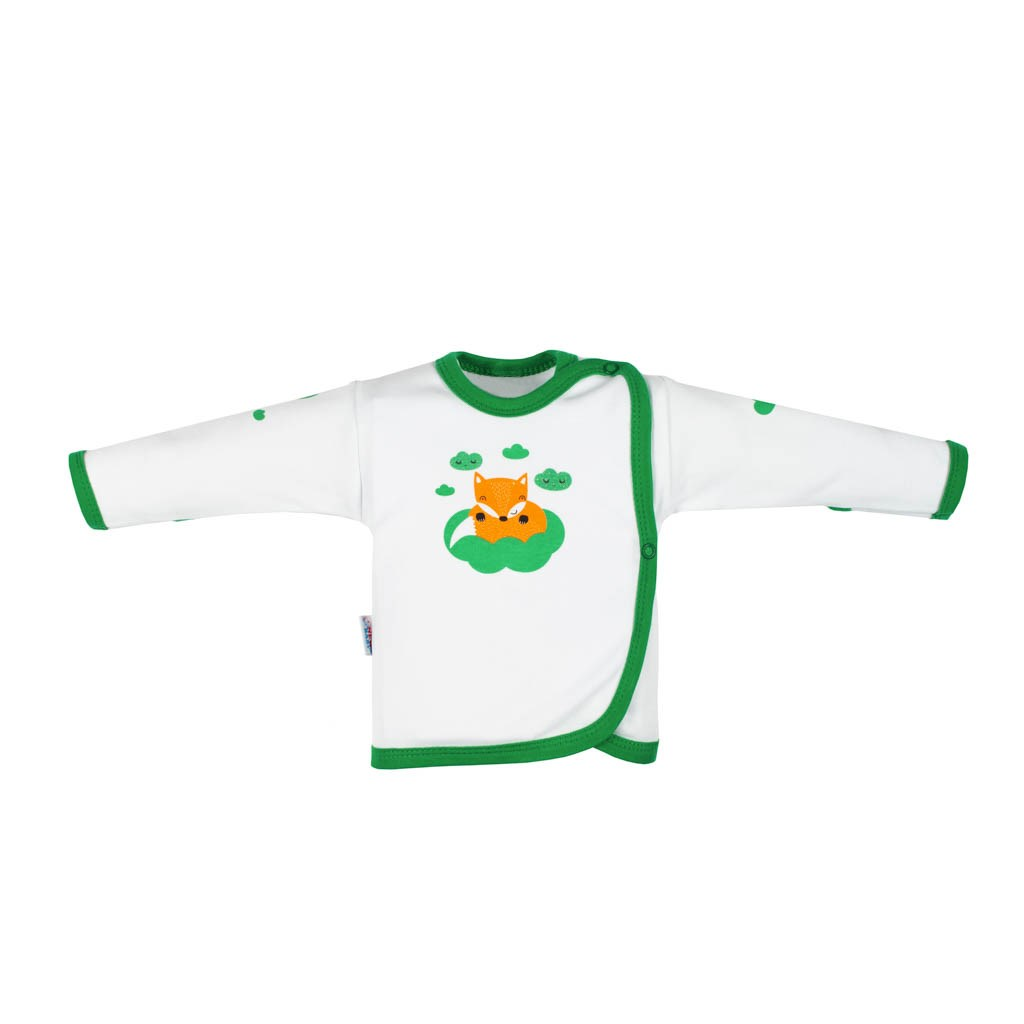 Kojenecká bavlněná košilka New Baby Liška zelená vel. 50
