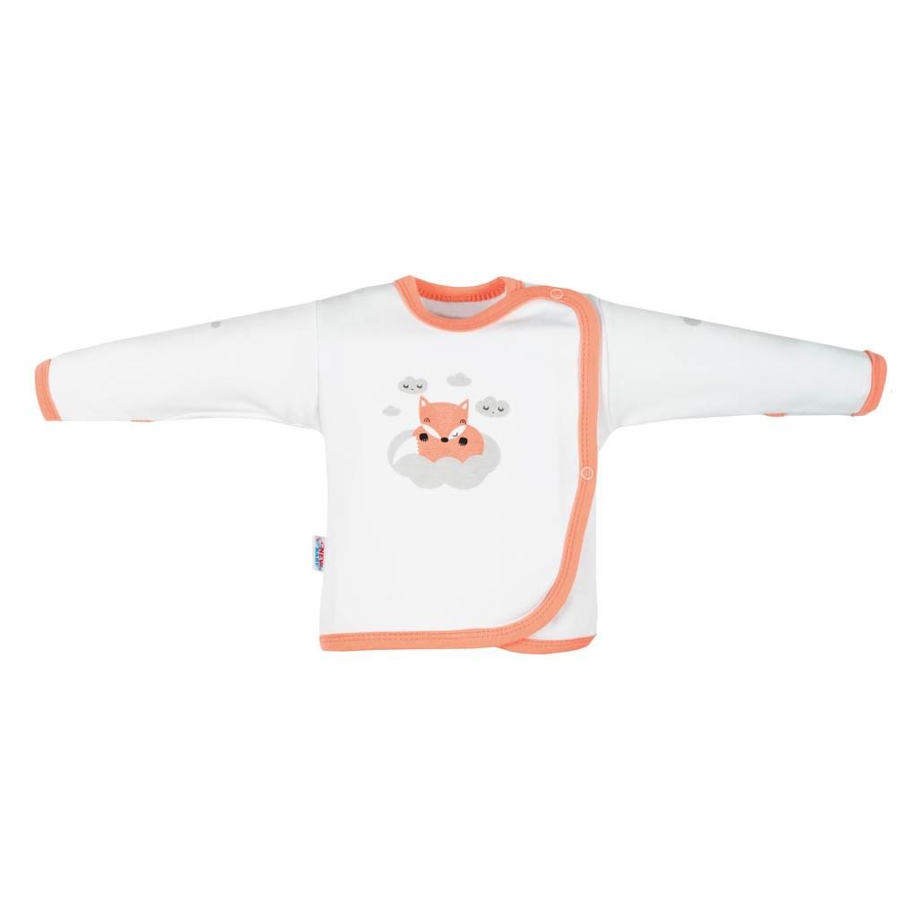 Kojenecká bavlněná košilka New Baby Liška lososová, 50