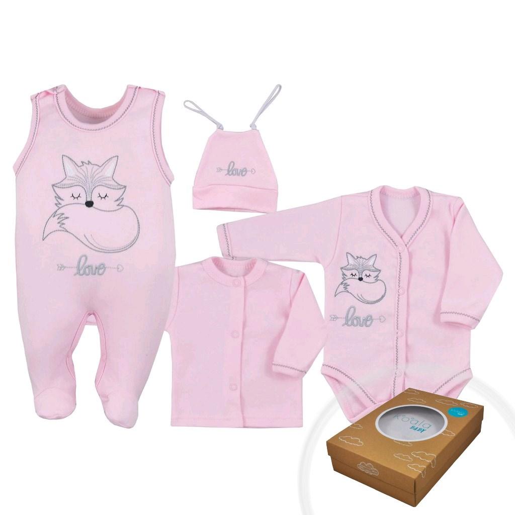 4-dílná kojenecká souprava Koala Fox Love růžová