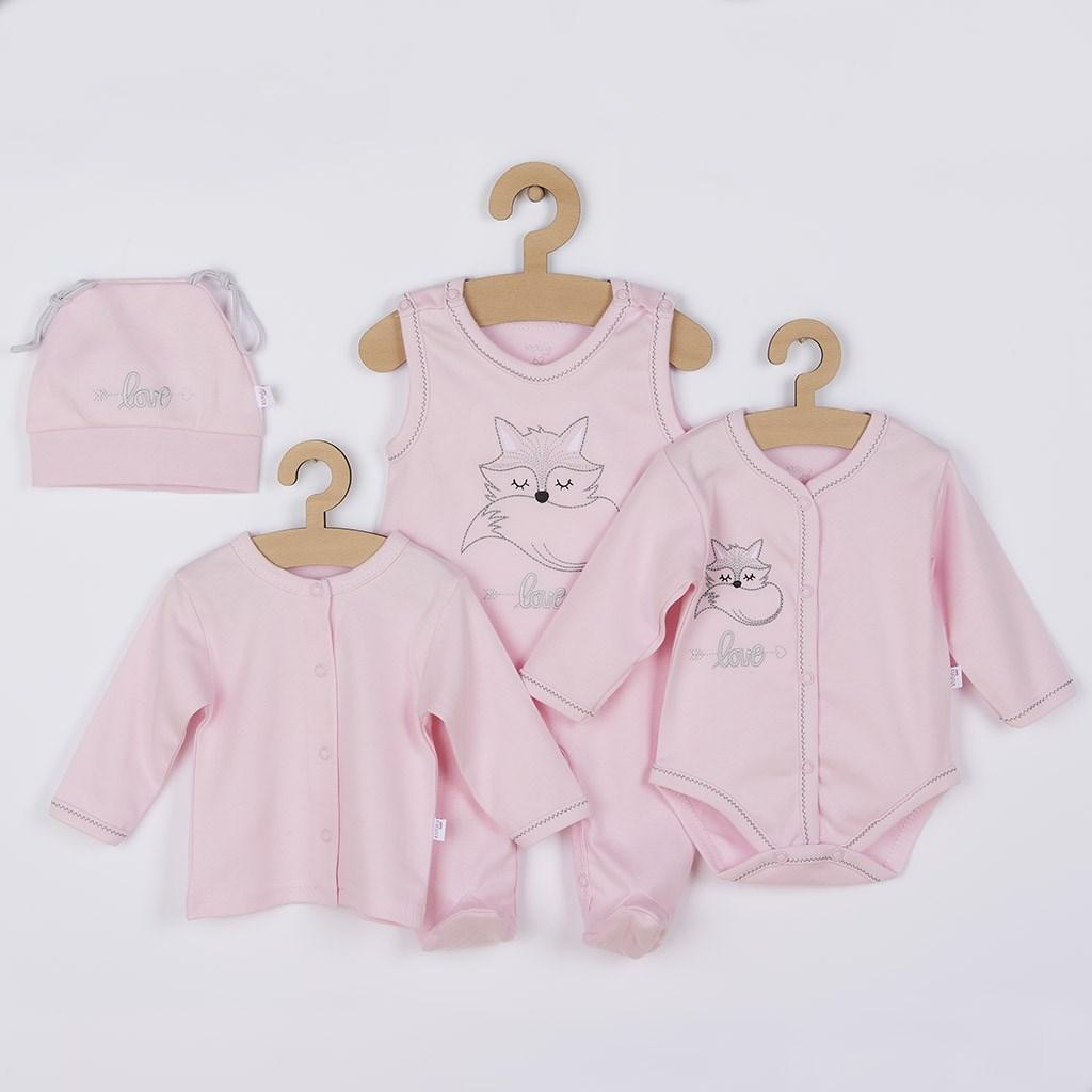 4-dílná kojenecká souprava Koala Fox Love růžová-62 (3-6m)