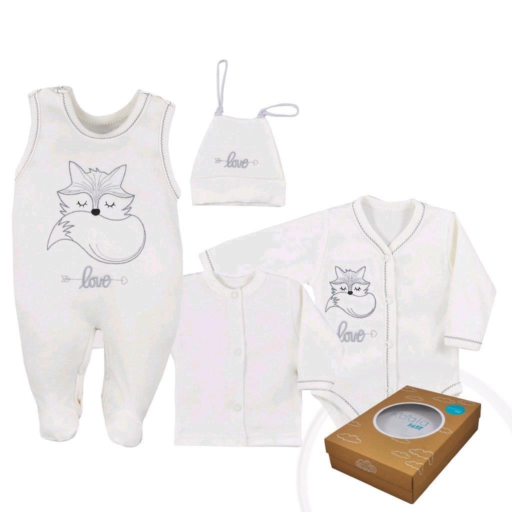 4-dílná kojenecká souprava Koala Fox Love smetanová, Velikost: 68 (4-6m)