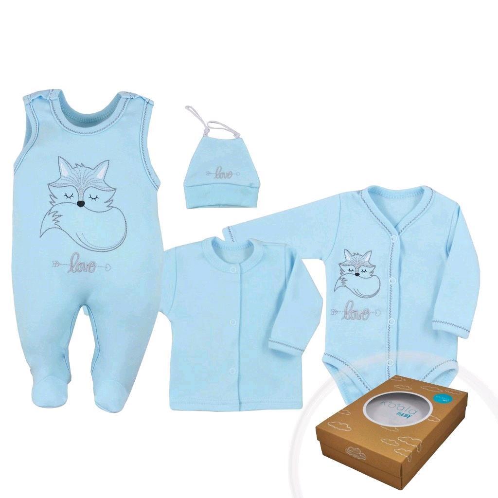 4-dílná kojenecká souprava Koala Fox Love modrá, Velikost: 68 (4-6m)