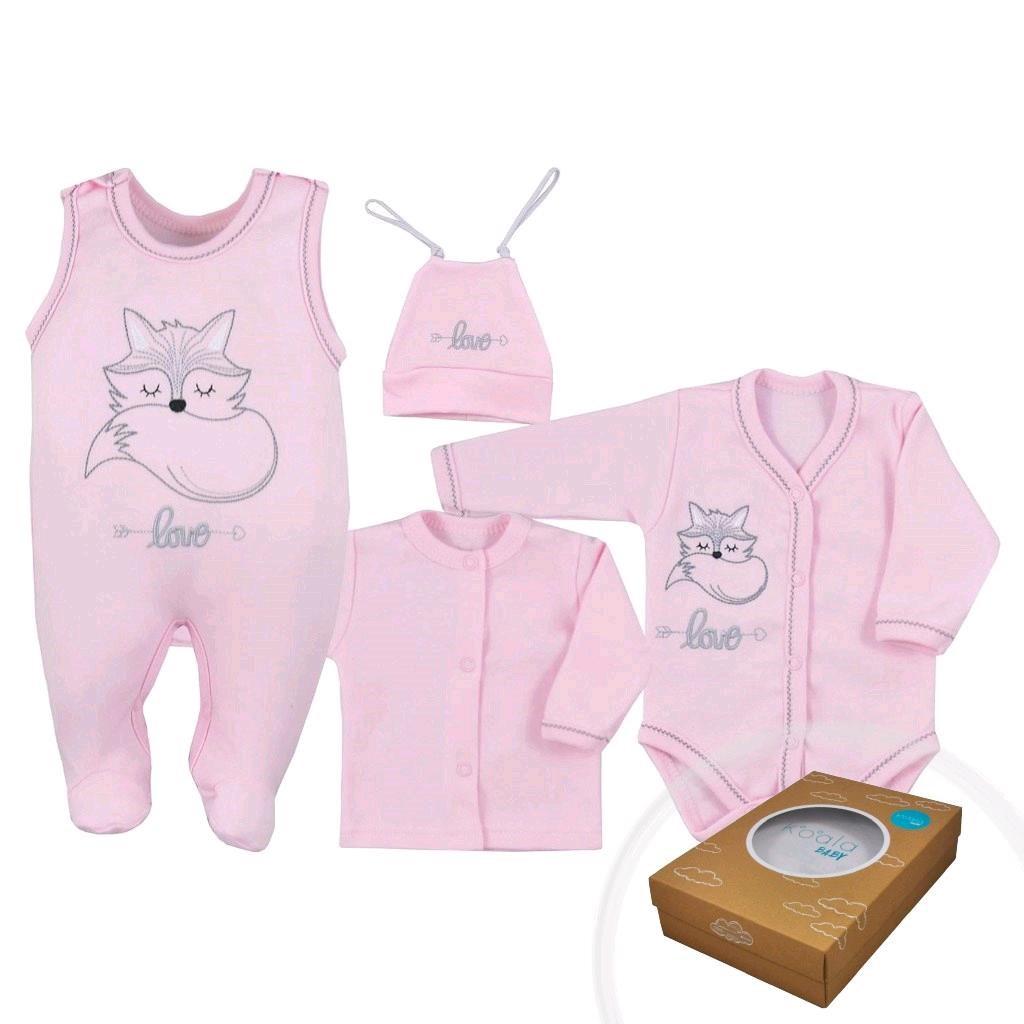 4-dílná kojenecká souprava Koala Fox Love růžová vel. 68 (4-6m)