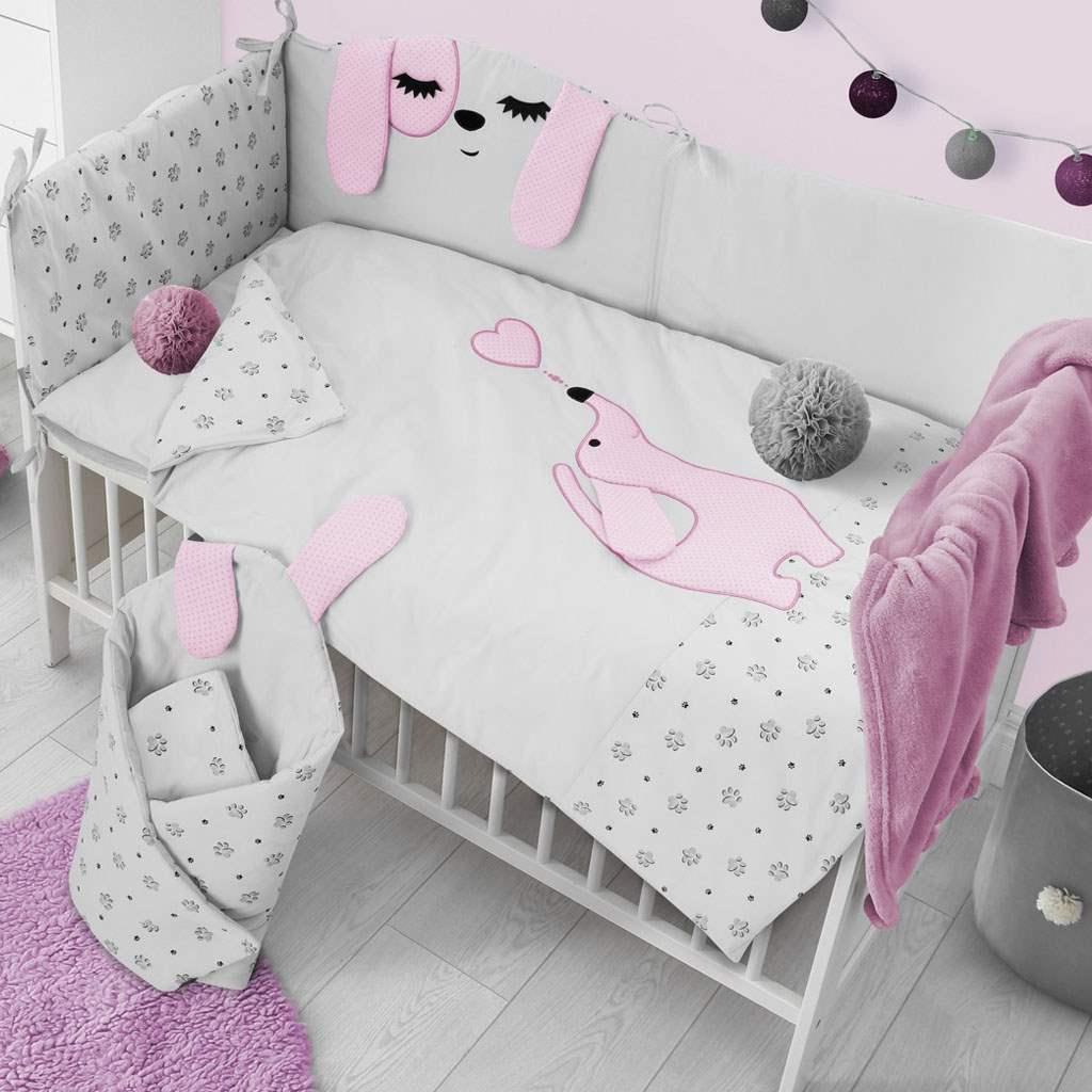 5-dílné ložní povlečení Belisima Lovely Puppy 90/120 růžové
