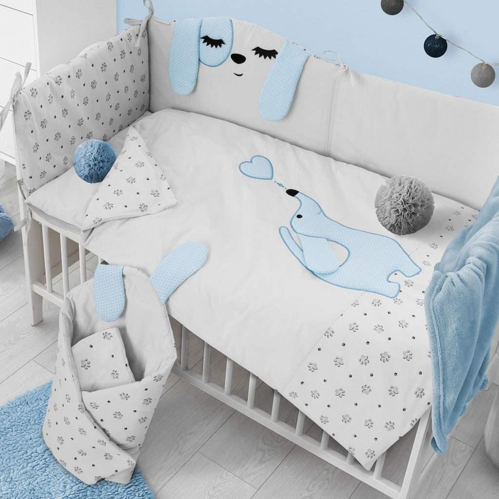 6-dílné ložní povlečení Belisima Lovely Puppy 100/135 modré