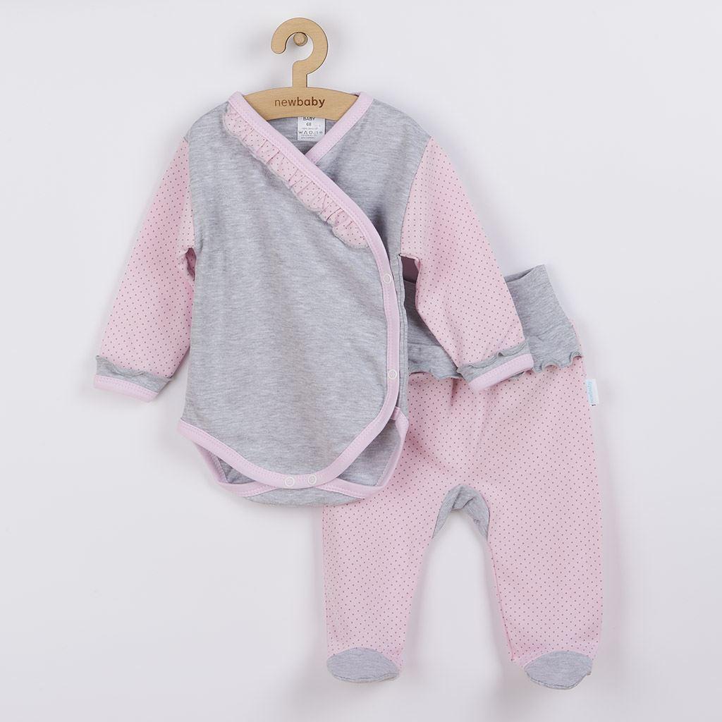 2-dílná kojenecká souprava New Baby Puntík II šedo-růžová vel. 62 (3-6m)