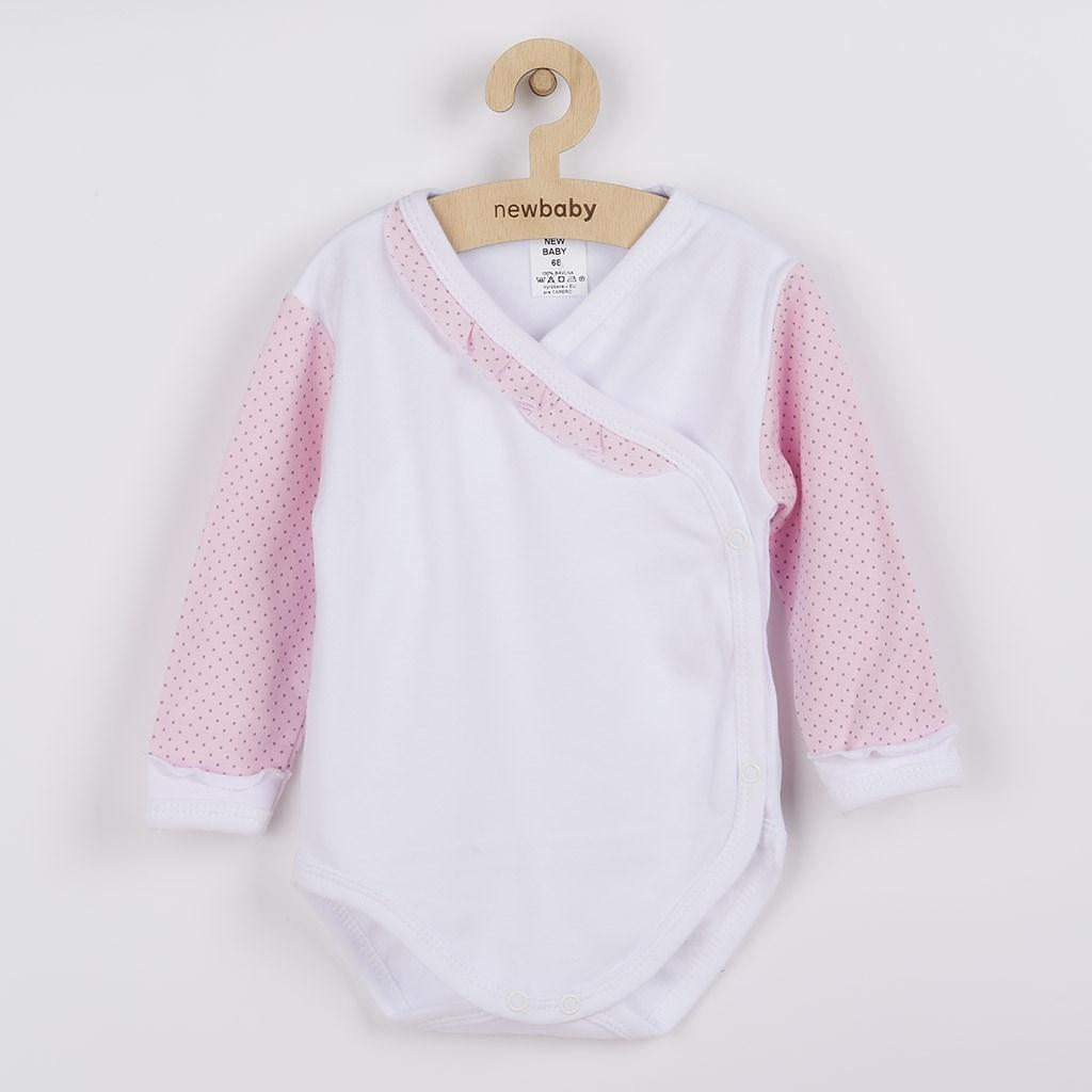 2-dílná kojenecká souprava New Baby Puntík II bílo-růžová, 62 (3-6m)
