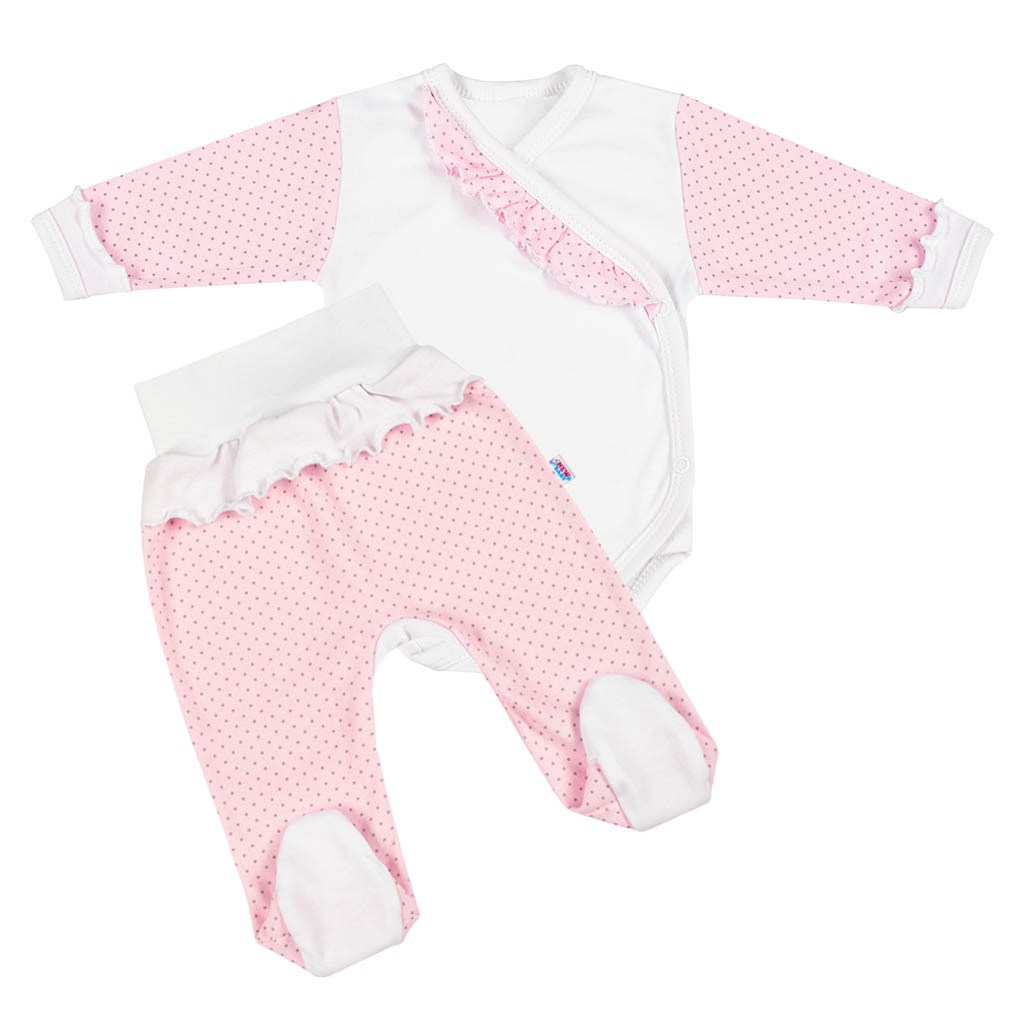 2-dílná kojenecká souprava New Baby Puntík II bílo-růžová