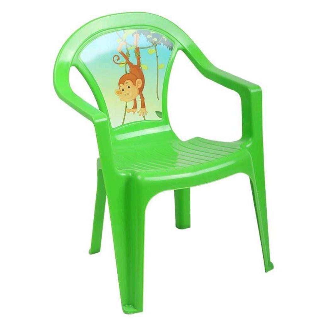Dětský zahradní nábytek - Plastová židle zelená opice