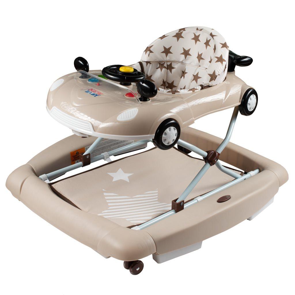 Dětské chodítko s houpačkou a silikonovými kolečky New Baby Little Racing Car