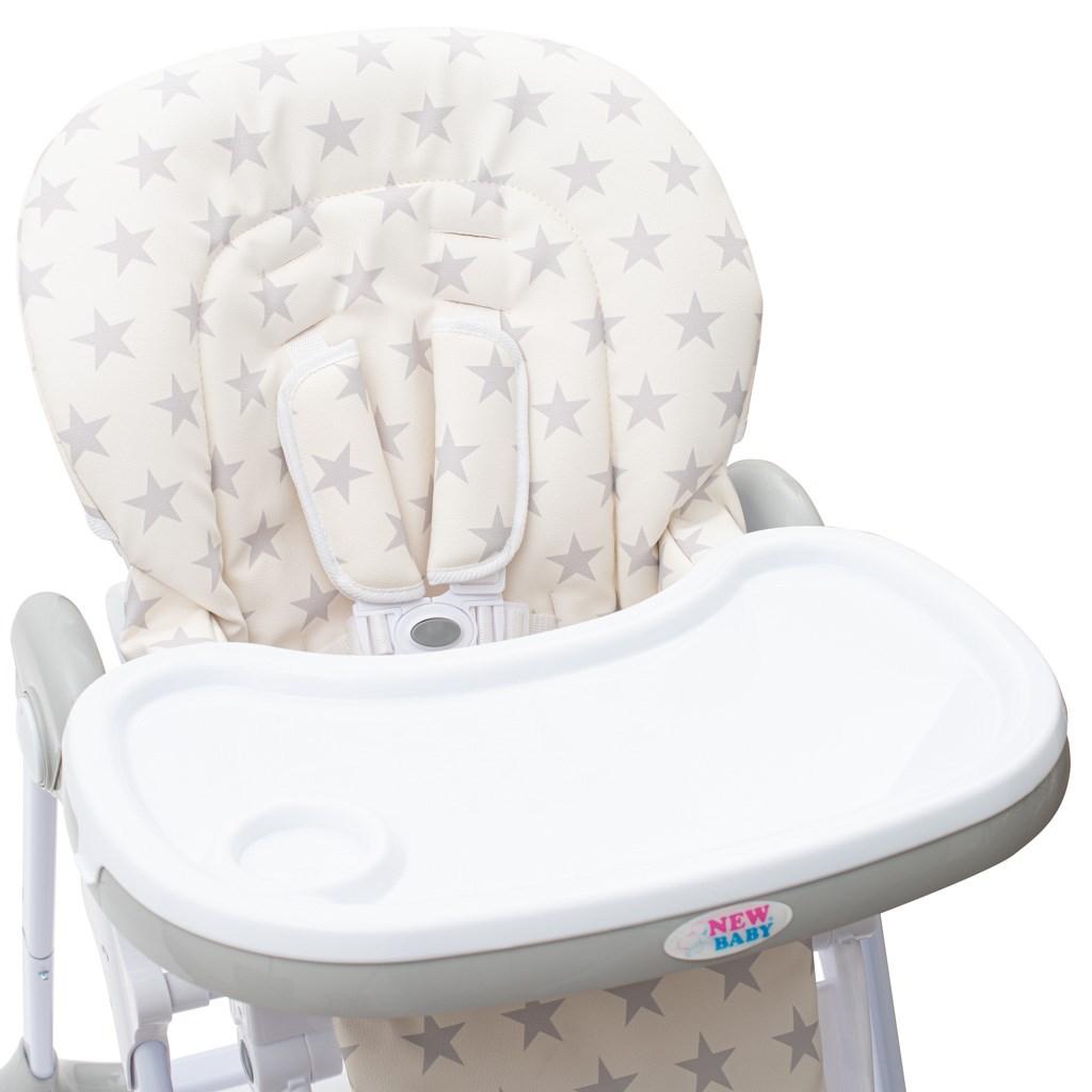 Jídelní židlička NEW BABY Gray Star - ekokůže