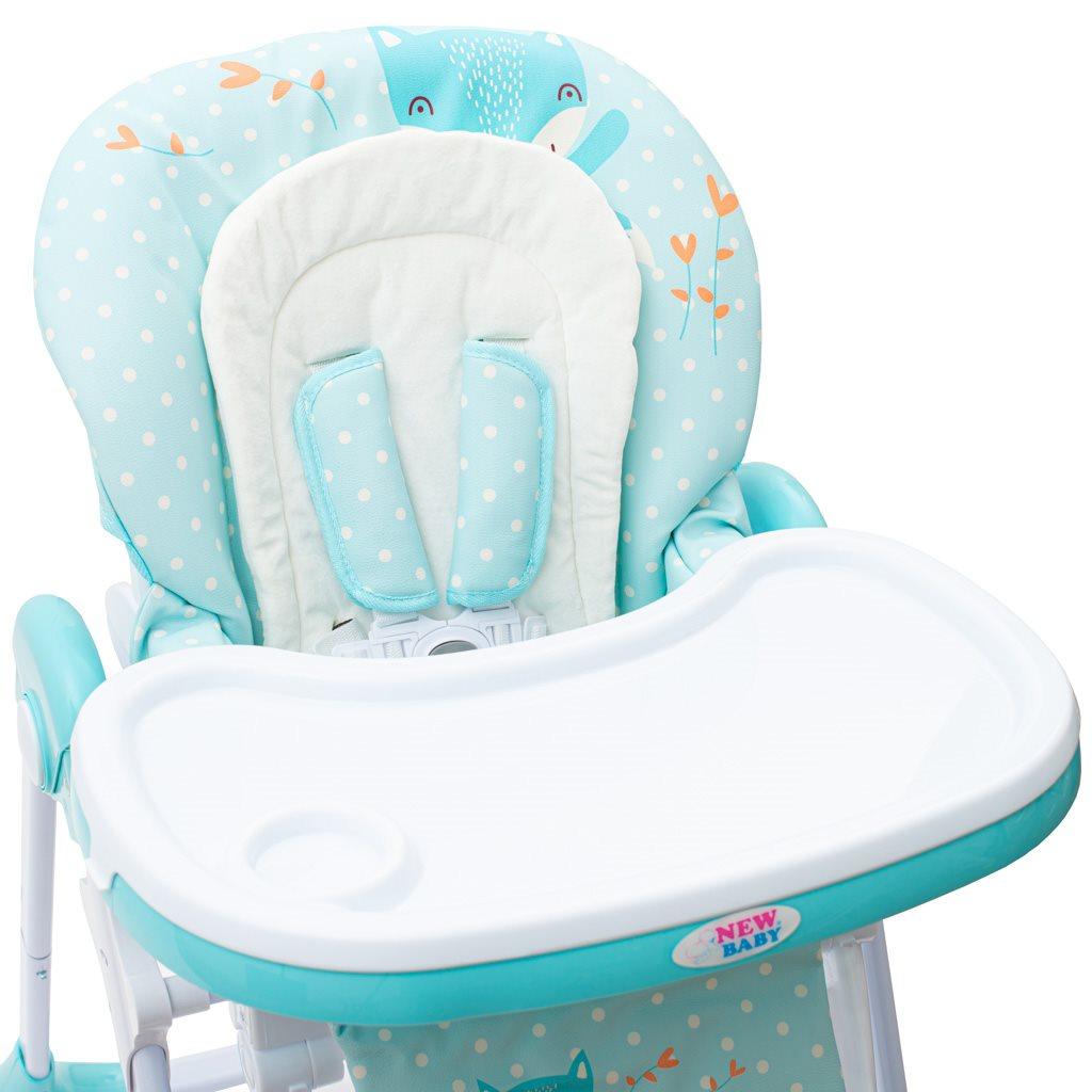 Jídelní židlička NEW BABY Minty Fox - eko kůže a vložka pro miminka
