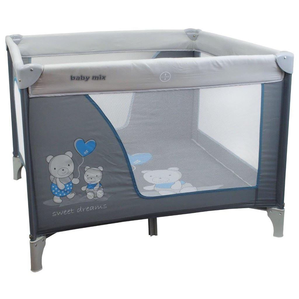 Dětská skládací ohrádka Baby Mix 106x106 medvědi blue-grey