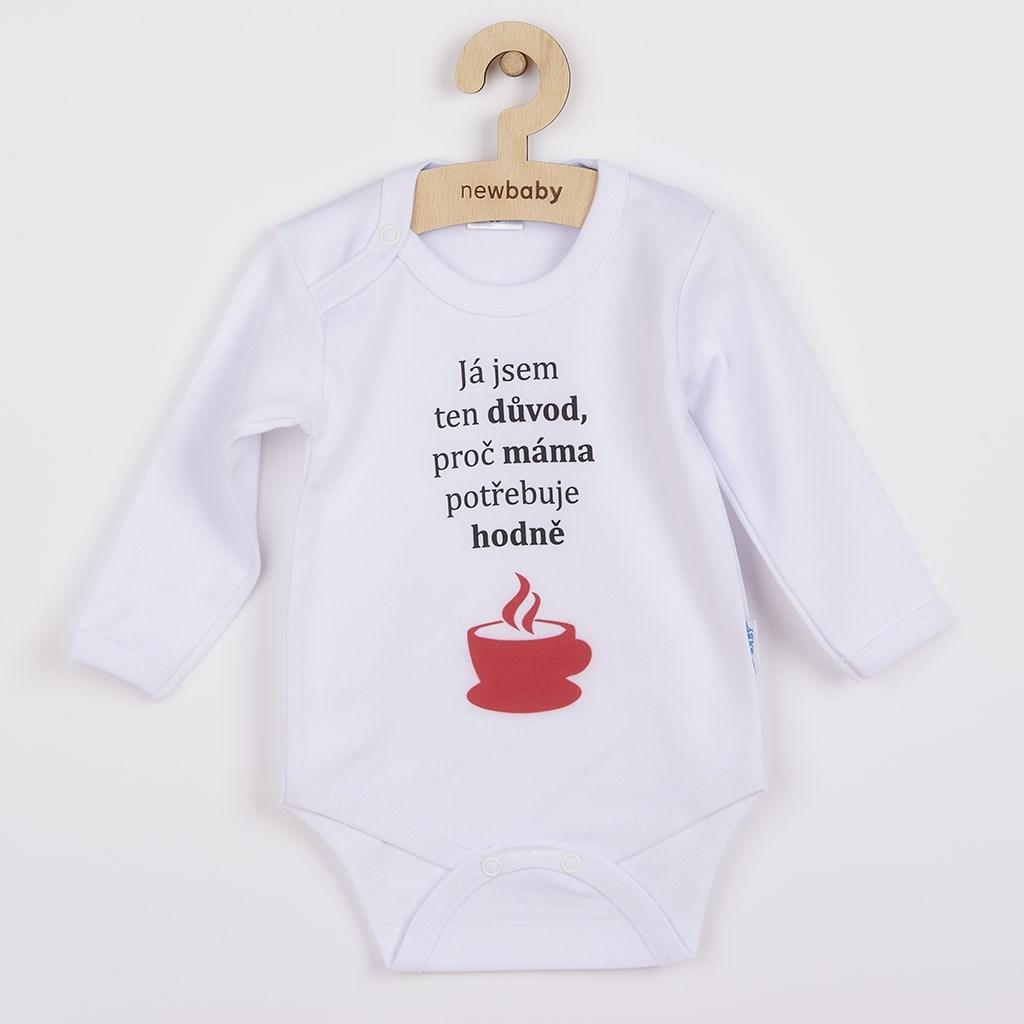 Body s potiskem New Baby ...hodně kávy... vel. 86 (12-18m)