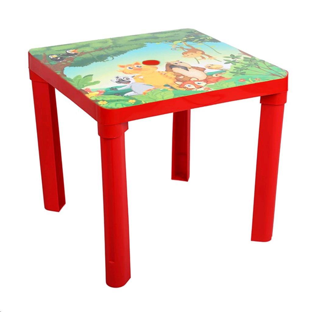 Dětský zahradní nábytek - Plastový stůl safari červený