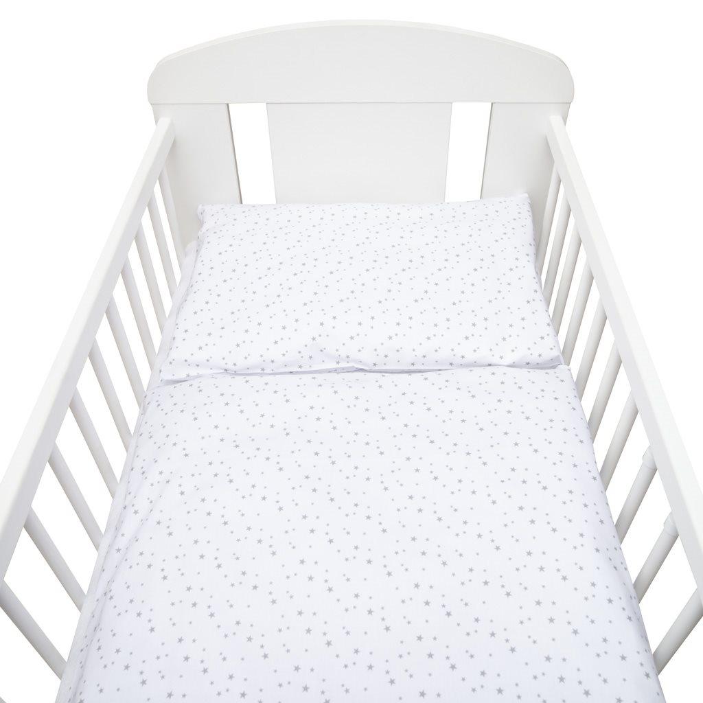 3-dílné ložní povlečení New Baby 90/120 cm bílé šedé hvězdičky