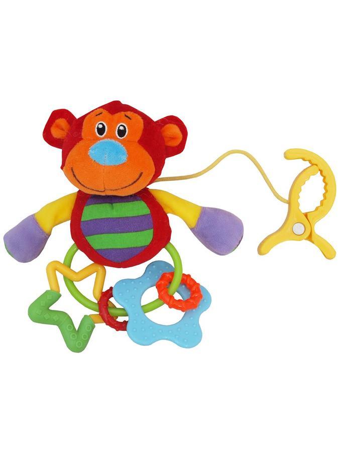 Plyšová hračka s chrastítkem Baby Mix opička s klipem