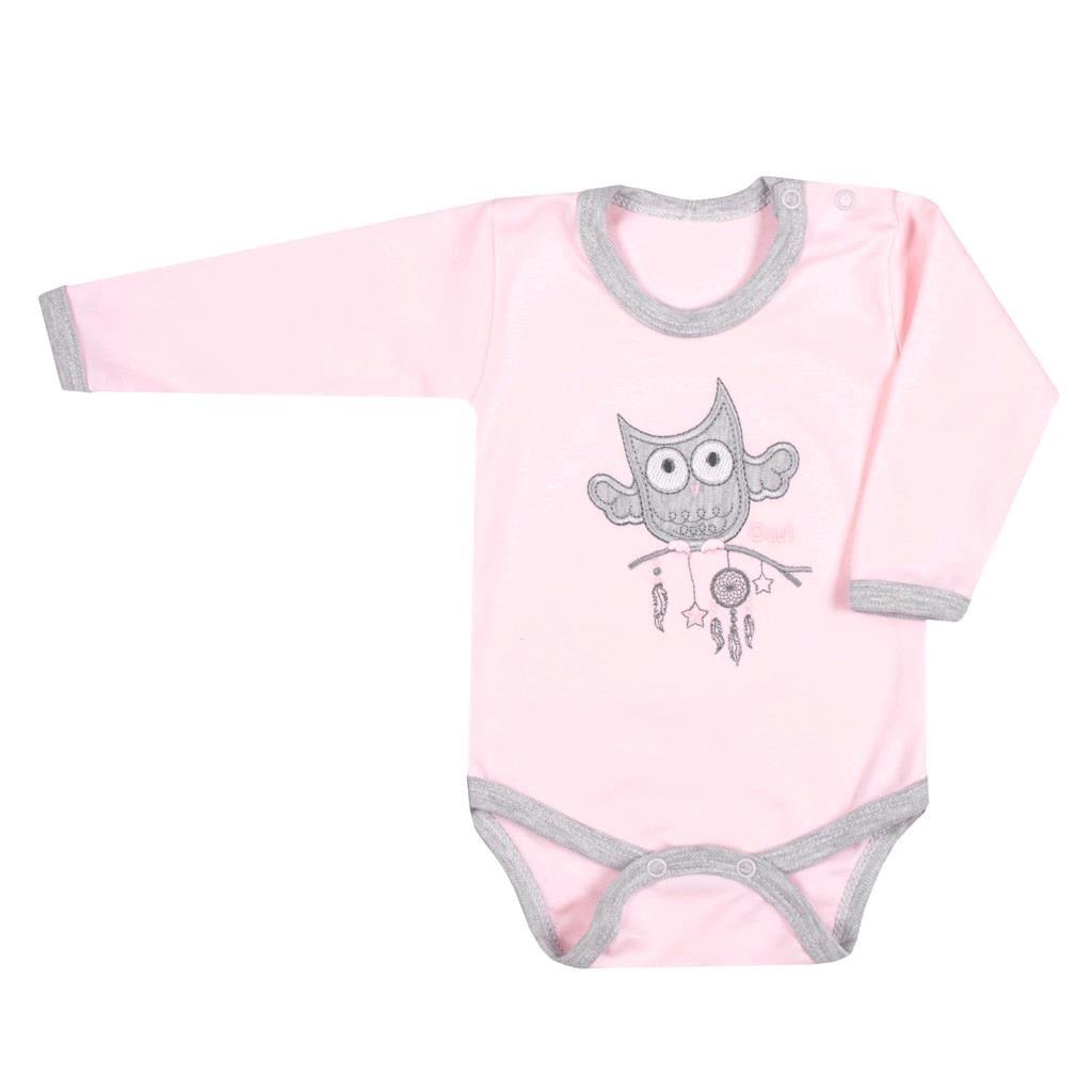 Kojenecké body New Baby Owl růžové