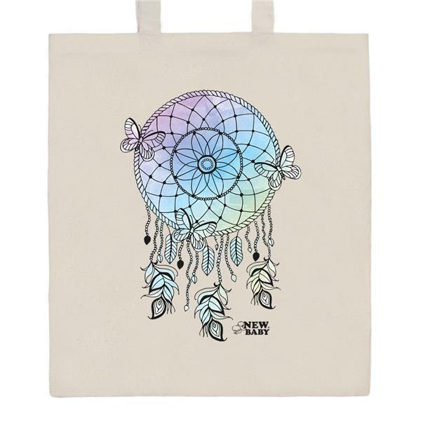 Bavlněná nákupní taška přírodní s potiskem New Baby Lapač snů
