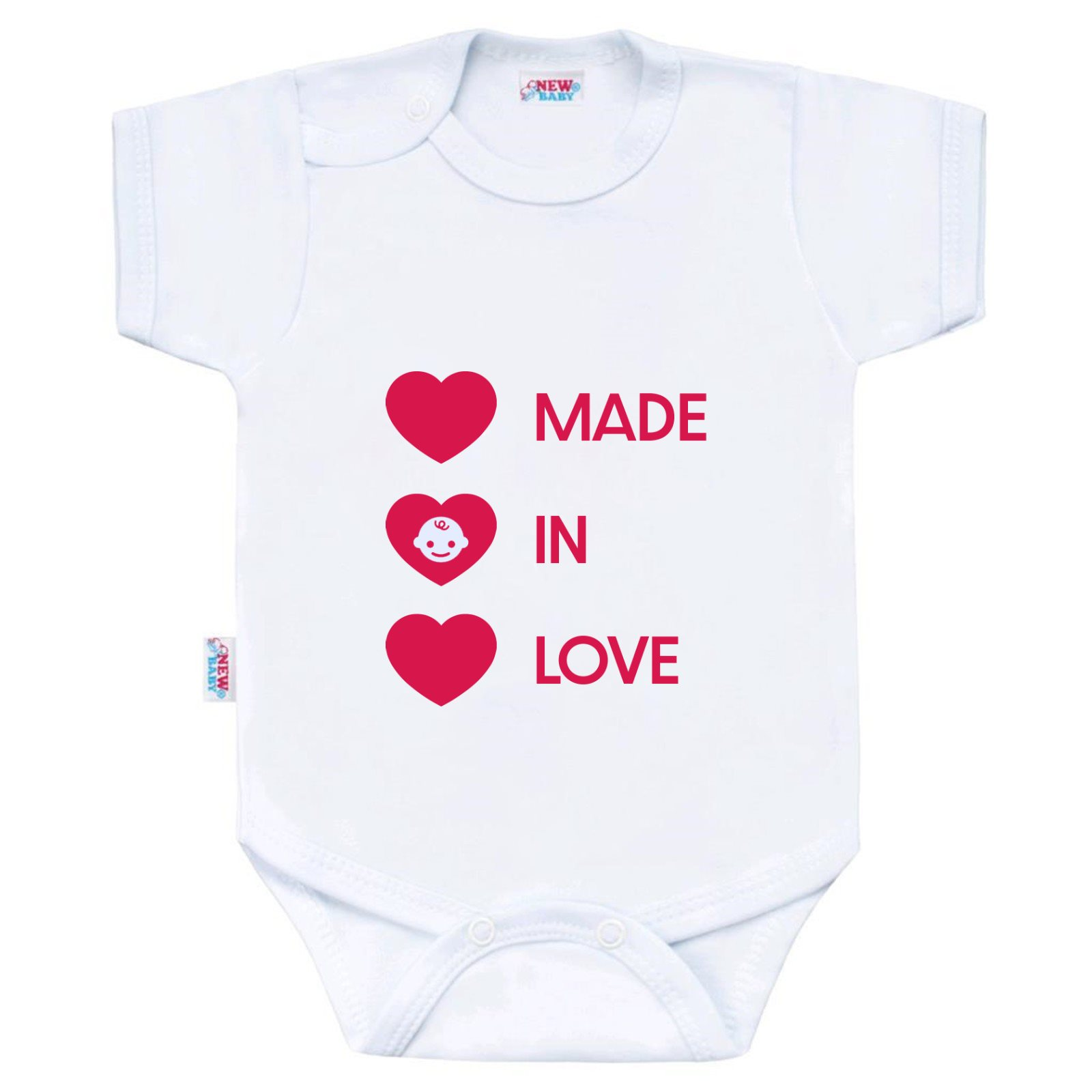 Body s potiskem New Baby MADE IN LOVE, vel. 50