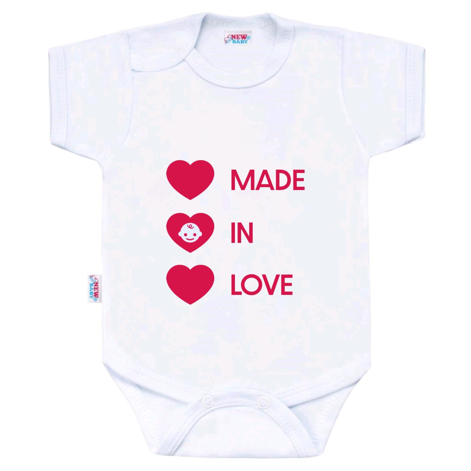 Body s potiskem New Baby MADE IN LOVE, vel. 56 (0-3m)