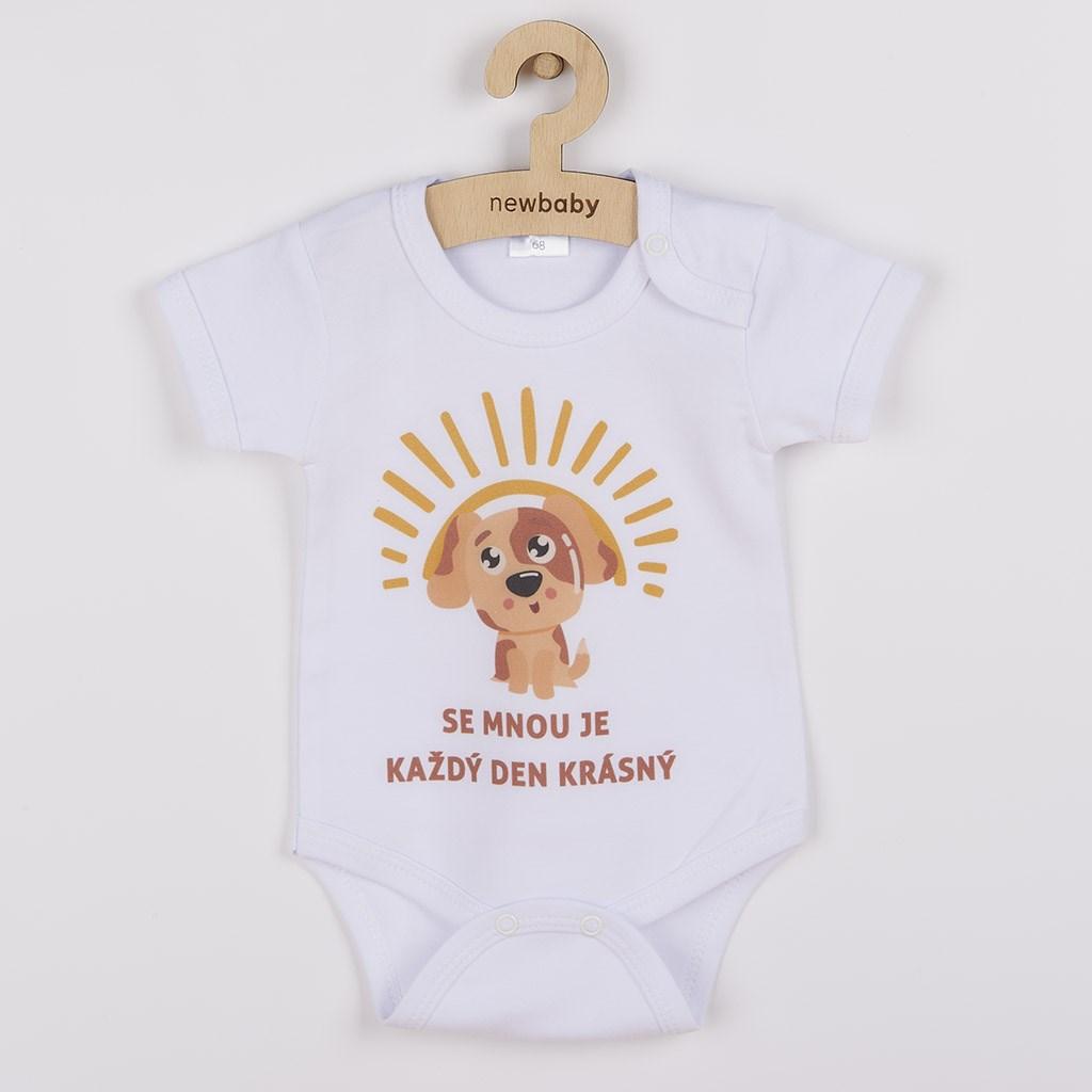 Body s potiskem New Baby SE MNOU JE KAŽDÝ DEN KRÁSNÝ, Velikost: 80 (9-12m)