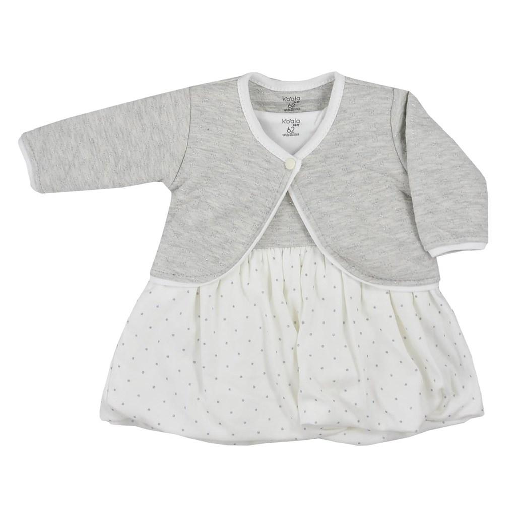 Kojenecké bavlněné šatičky s bolerkem Koala Dots smetanové, Velikost: 74 (6-9m)