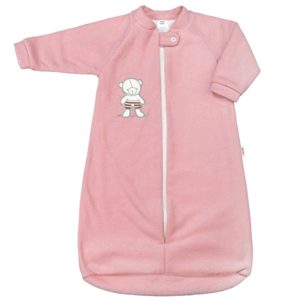 Kojenecký froté spací pytel New Baby medvídek růžový