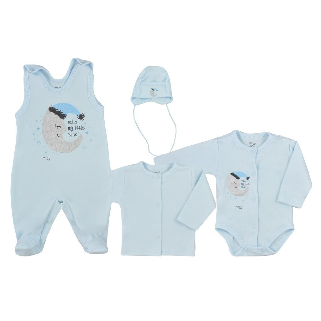 4-dílná kojenecká souprava Koala Moon modrá, 56 (0-3m)