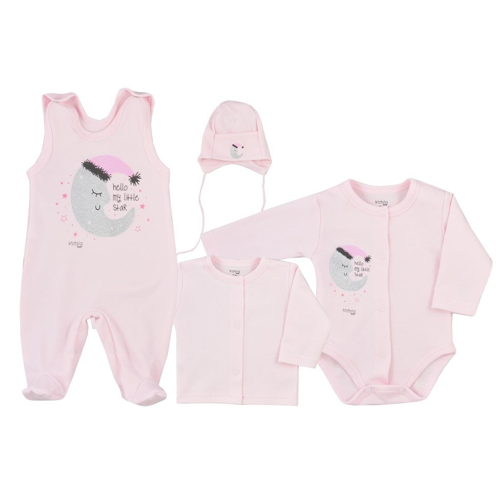 4-dílná kojenecká souprava Koala Moon růžová, 56 (0-3m)