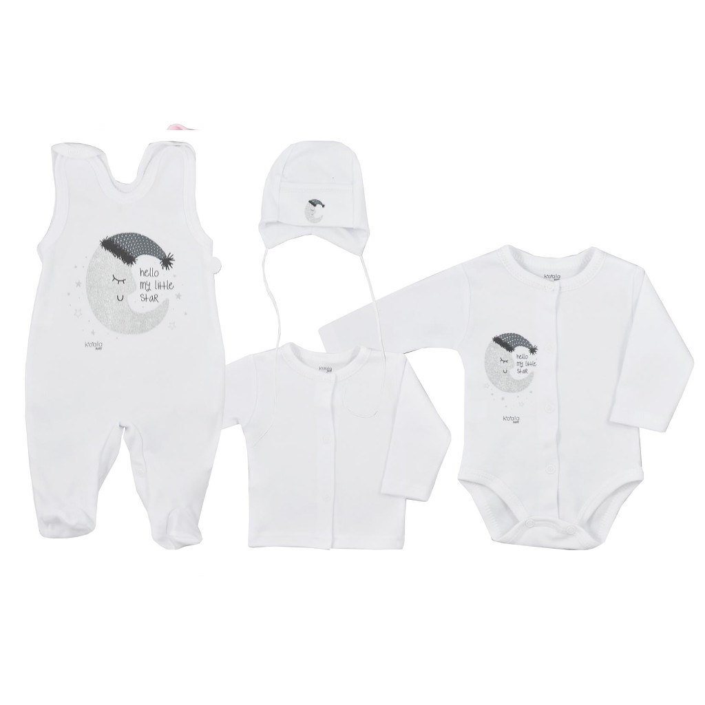 4-dílná kojenecká souprava Koala Moon bílá, 68 (4-6m)