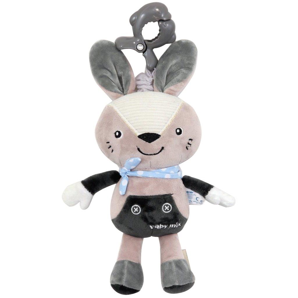 Dětská plyšová hračka s hracím strojkem Baby Mix Králiček šedý