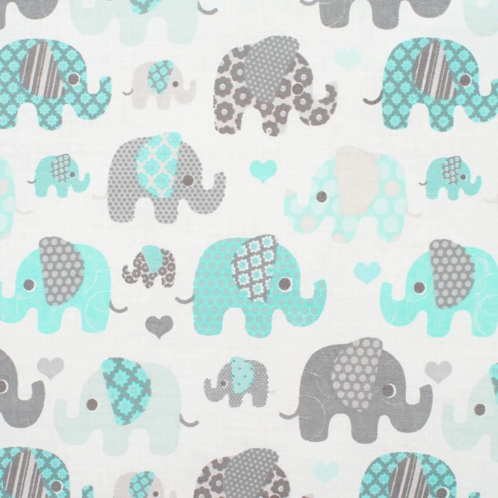 Oboustranný Set z Velvet do kočárku New Baby sloni mátový