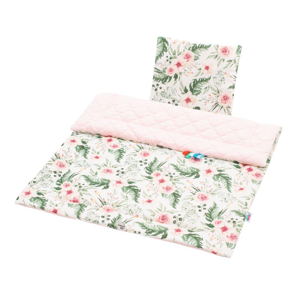 Oboustranný Set z Velvet do kočárku New Baby květiny růžový